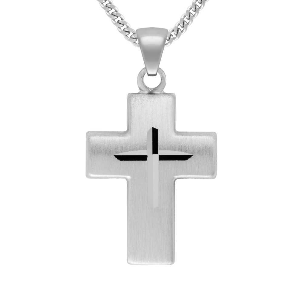 Breites Weißgold Kreuz