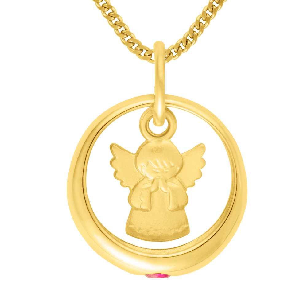 Gelbgold Taufring mit Engel und Rubin