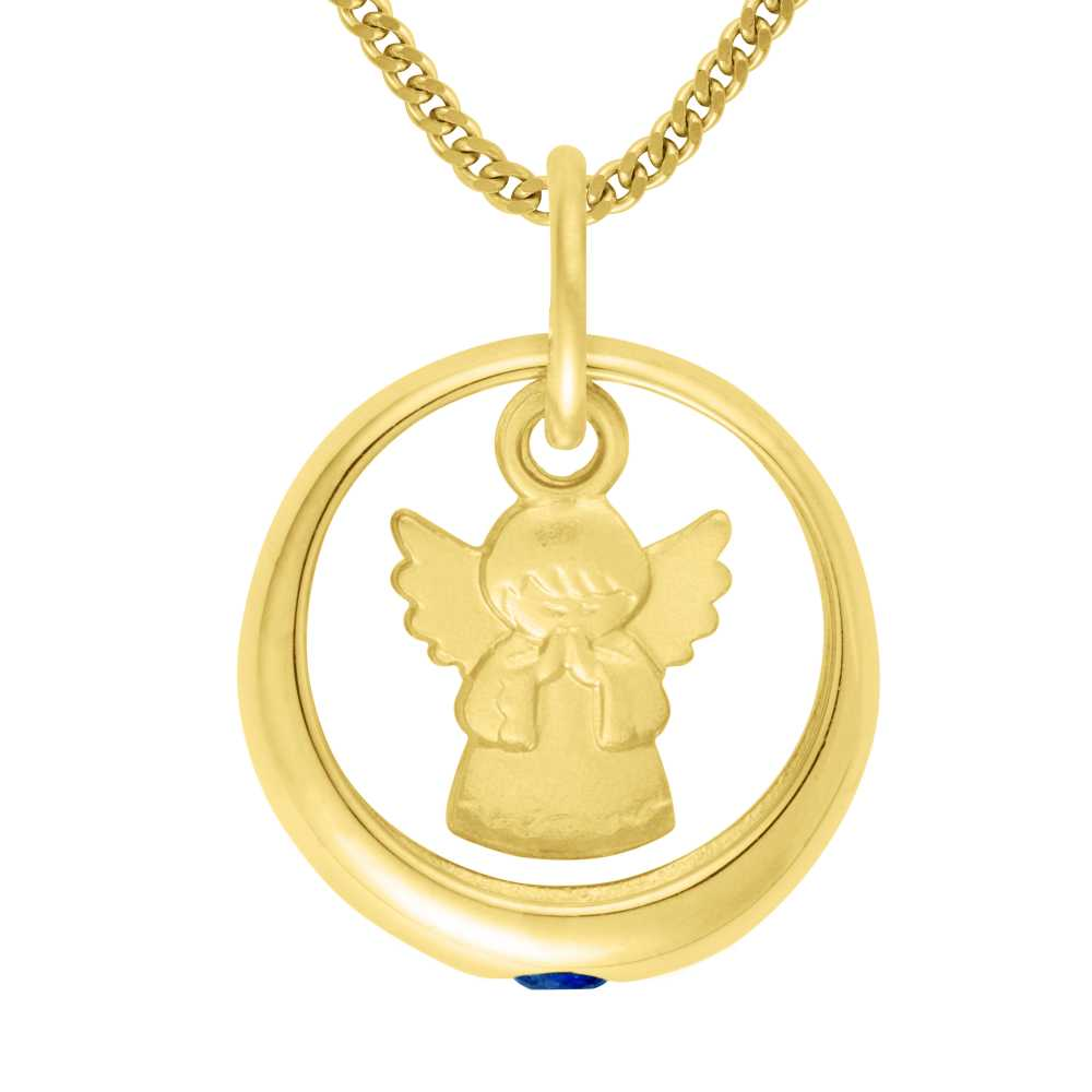 Gelbgold Taufring mit Engel und Saphir
