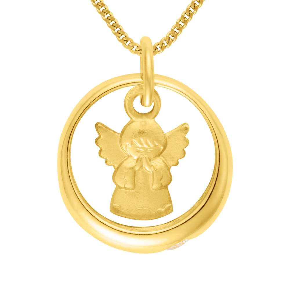 Gelbgold Taufring mit Rubin und Engel