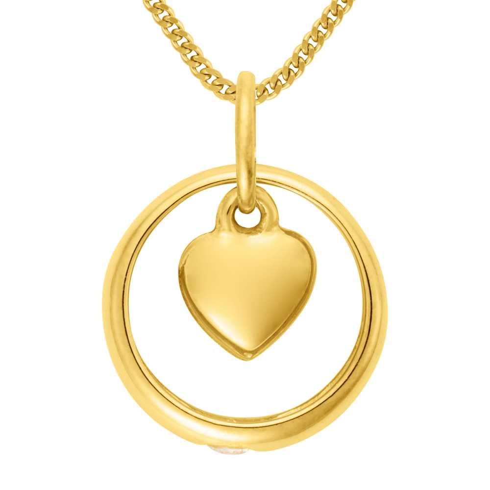 Gelbgold Taufring mit Zirkonia und Herz