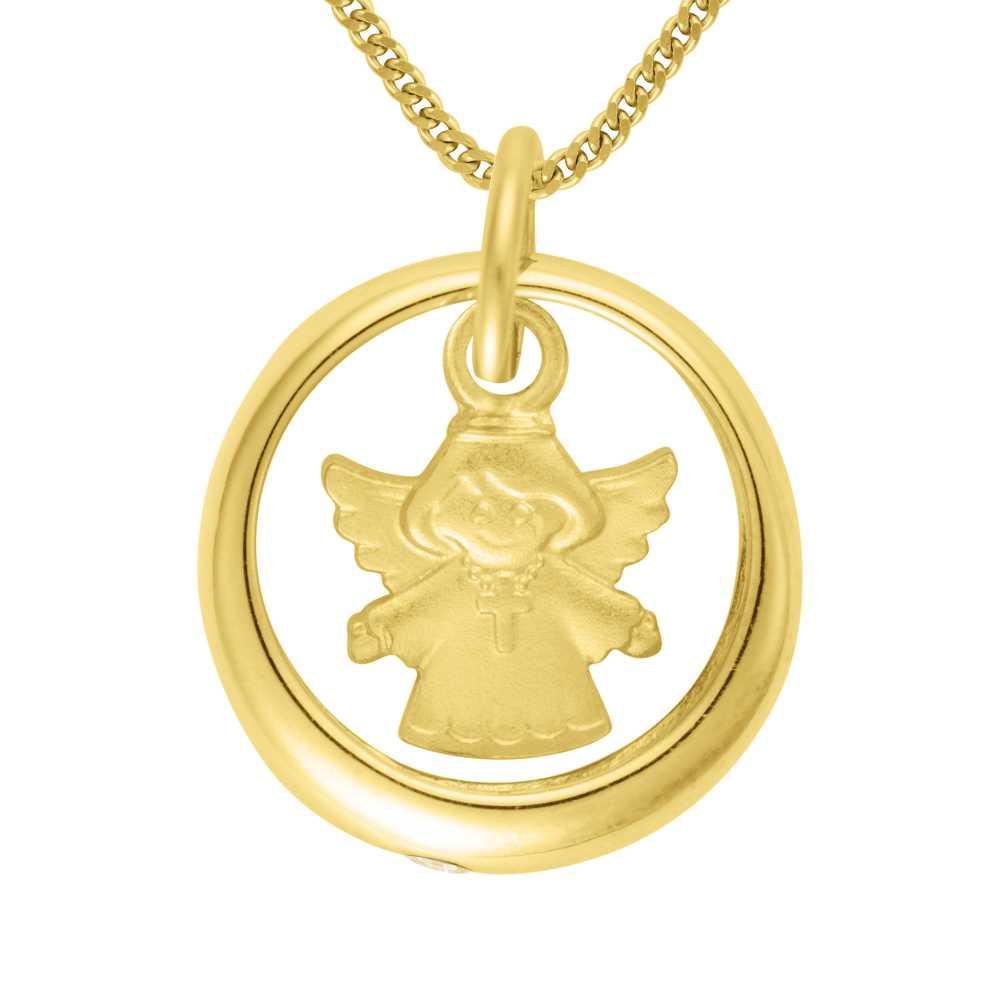 Gelbgold Taufring mit Zirkonia und Engel