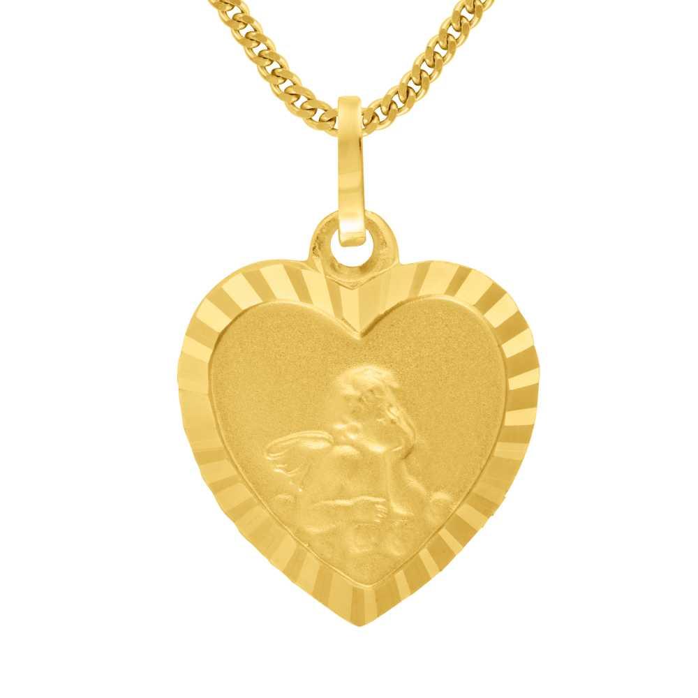 Gelbgoldener Engel - Herzanhänger