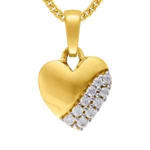 Gelbgold Herz Anhänger Zirkonia Stein