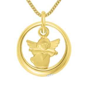 Gelbgold Taufring mit Engel und Zirkonia
