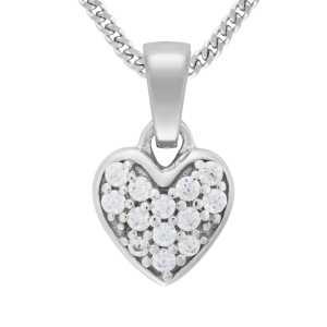 Silber Herz Anhänger Zirkonia Stein