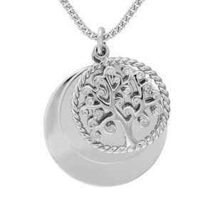 Silber Lebensbaum Anhänger Zirkonia Stein