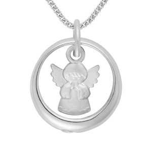 Weißgold Taufring mit Engel und Zirkonia